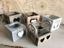 Vintage Style Tea Light Candle Holder Wooden Shabby Hearts Wedding Decorations