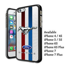 Ford Mustang GT Logo Carbon Print Plastic Hard Case For iPhone 5 6s 7 8 X (Plus)