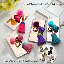 For iPhone 6S 6 Plus Fashion Leather Tassel TPU Mirror Bumper Girly Case Cover