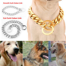 14''-26 inch Gold/Silver Stainless Steel Pet Dog Chain Training Collar 13mm/15mm