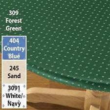 ELASTICIZED Vinyl Table Cover Fitted Round Oval Blue Green Sand Flannel Backing
