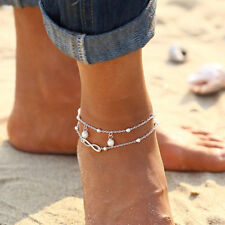 Women Double Chain Ankle Anklet Bracelet Barefoot Beach Sandal Foot Jewelry