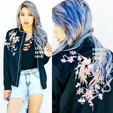 Moto Phoenix Embroidered Bomber Jacket Womens Embroidery Cardigan Coat Oriental