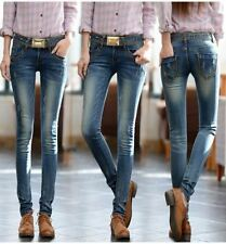 Blue Color  Spring and Summer Plus Size Cotton Material Jeans for Women