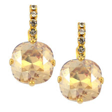 Nara Crystal Earrings, Gold Plated Leverback with Swarovski
