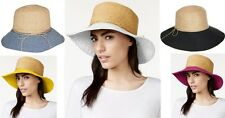 Nine West women Canvas and Straw Floppy Womens Hat Black Denim Yellow White Pink