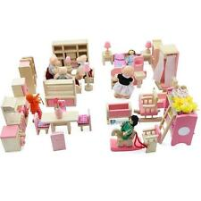 Dolls House Furniture Wooden Set People Dolls Toys For Kids Children Gift New BH