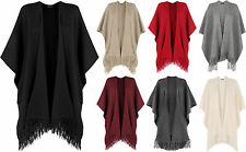 women's plain chunky shawl knitted tassle cape ribbed poncho shawl