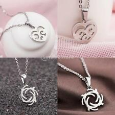 Fashion Silver Tone Stainless Steel Love Flower Whirlwind Pendant Necklace Chain
