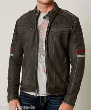 Affliction Black Premium - DESERT ROADS - Men's Leather Biker Jacket - MOTO NEW