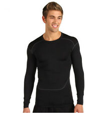 Men's Compression Under Base Layer Tops Skin Tight Long Sleeve T-Shirts Black