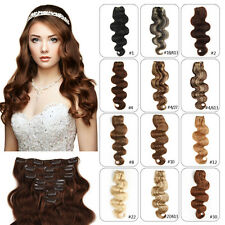 Any Color Clip In Human Hair Extensions Thick Body Wave Remy Hair 70g-120g/Set