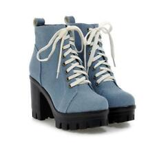 New Womens Lace up Riding ankle boots denim high block heels platform pump shoes