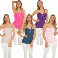 One Shoulder Top Shirt with rhinestones asymmetric Party Club Gathered sexy 32