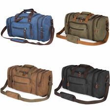 Unisex Canvas Travel Bag Duffel Bag Weekend Bag with Strap Tote Luggag Oversized
