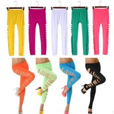 Fashion Sexy Women Side Hollow Out Ripped Hole Solid Candy Color Leggings Pants