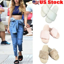 Womens Summer Slip On Fluffy Fur Flats Mule Sandals Slippers Sliders Flats Shoes