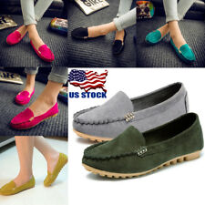 Women Leather Ballet Flat Shoes Slip-on Comfort Moccasin Anti-skid Casual Loafer