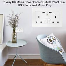 UK Plug Dual 2 Port USB Wall Socket Charger AC Power Outlet Plate Panel lot DP
