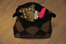 Women Toiletry Storage Makeup Cosmetic Bag Pouch purse genuine Leather & Suede