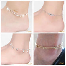 NEW 925 Sterling Silver Beaded Ankle Bracelet Anklet Chain Foot Jewelry Beach UK