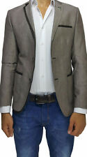 Brown Cotton Slim Fit Blazer with Half Lapel Trim