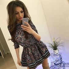 Women Vintage Short Sleeve Flower Printed Casual Mini Dress (Us Shipping)