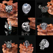 Punk Men Fashion Stainless Steel Silver Gothic Skull Finger Ring Jewelry SZ 8-10