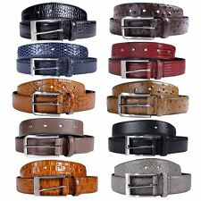 New Mens Classic Pin Buckle Textured Genuine Leather Belts S-3XL