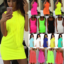 Womens Neon Color Summer Mini Dress Casual Holiday Beach Evening Party Sundress