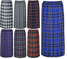 LADIES WOMENS TARTAN PLEATED BOX CHECK SKIRT 27 INCH LENGTH ELASTIC SIZES 10-26