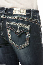 MISS ME BOHEMIAN RED STITCH FRAY STRAIGHT CUT JEANS! JP8475T NWT!