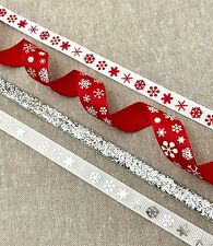 Christmas Snowflake Ribbons - Red White Silver Snowflake Decoration - Gift Wrap