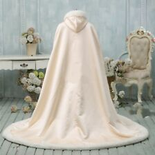 Long Bridal Winter Women Cloak Hooded Faux Fur shawl Warm Cape Chapel Train