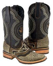 men's rustic sand brown overlay lizard leather cowboy western boots brown rodeo