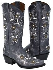 Womens Denim Blue Flower Embroidered Leather Cowgirl Rodeo Snip Toe Boots