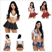 School Girl Sexy Costume Cosplay Student Uniform Set Role Play Mini Plaid Skirt