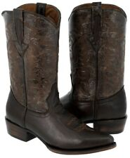 Men's Brown Classic Smooth Leather Western Cowboy Boots J