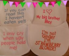 Personalised embroidered Baby bib vest babygrow sets 4 designs any colours/name