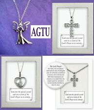 Angel Vision Pendant Lord's Prayer in Crystal Necklace Communion Confirmation