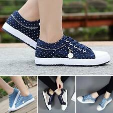 Women's Canvas Up Flats Comfort Casual Sneakers Hiking Shoes