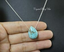 Natural Turquoise Necklace Gold - Sterling Silver Teardrop Turquoise Necklace