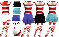 NEW WOMENS GIRLS RED & WHITE STRIPS T-SHIRT KIT HEN PARTY COSTUME SMALL TO XXL