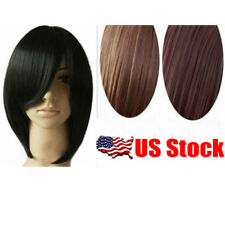 US Stock Short Wig Black Brown Straight Party Cosplay Women's Hair Wig 30cm Wigs