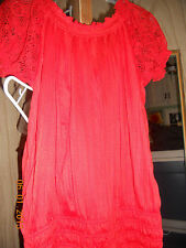 """Derek Heart Juniors Peasant solid crinkle short and puff sleeve tunic blouse """"M"""""""