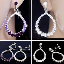 #E122D PAIR CLIP ON non-pierced screw back EARRINGS Teardrop White Gold Plated