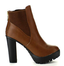 Black Tan Lug Sole Chunky Heel Bootie Round toe Ankle Boots Women's shoes Hanna