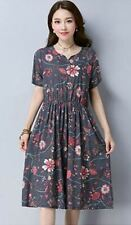 Women Grey And Blue Color Summer New Fashion Short Sleeve Round Neck Dress