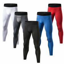 Mens Workout Athletic Tights Skin Compression Long Pants Running Jogger Trousers