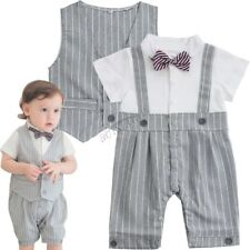Gentleman Stripe Vest Baby Boy Short Sleeved Bodysuit Jumpsuit Romper Suit 3-18M